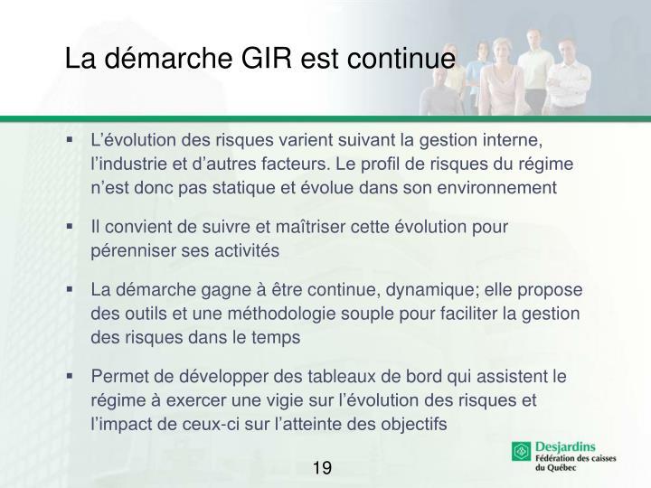 La démarche GIR est continue