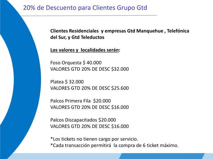 20% de Descuento para Clientes Grupo Gtd