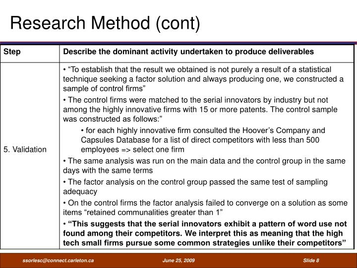 Research Method (cont)