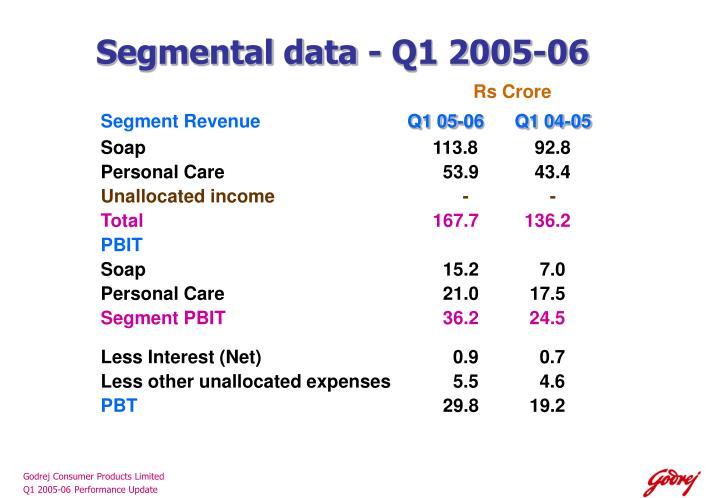 Segmental data - Q1 2005-06