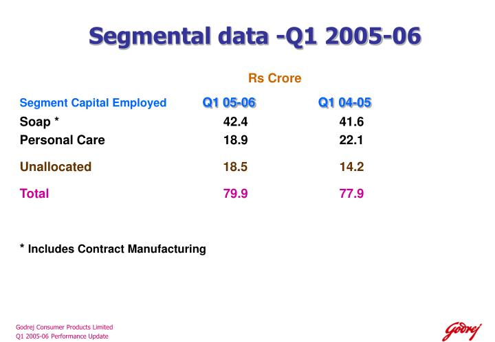 Segmental data -Q1 2005-06