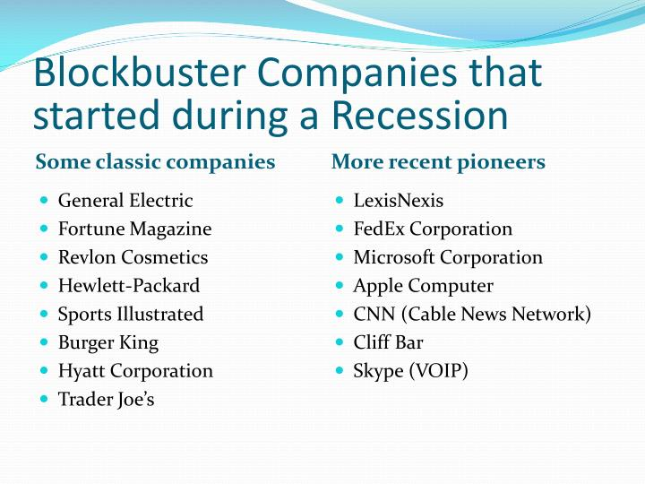 Blockbuster Companies that started during a Recession