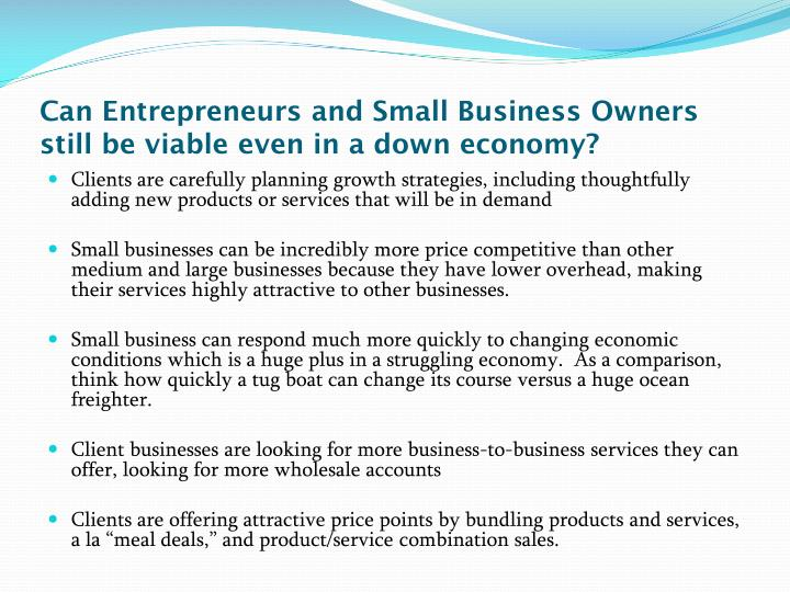 Can Entrepreneurs and Small Business Owners still be viable even in a down economy?