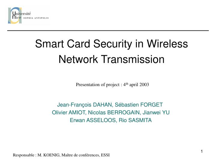 PPT - Smart Card Security in Wireless Network Transmission