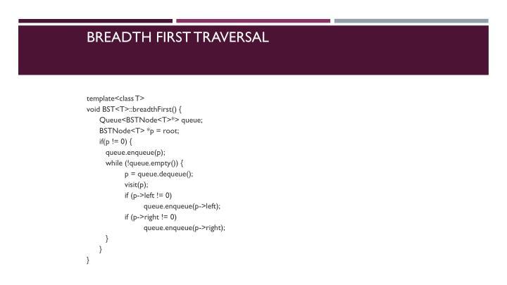 Breadth First Traversal