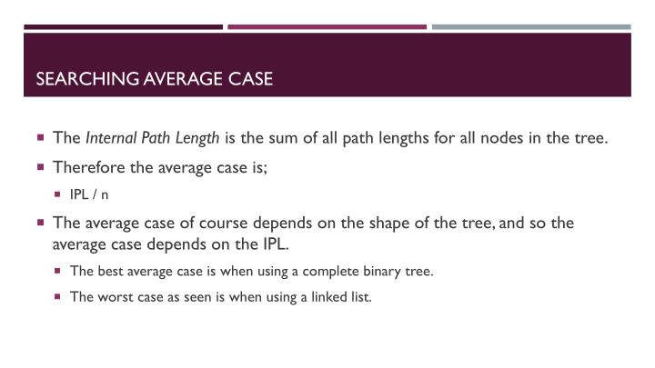 Searching Average Case