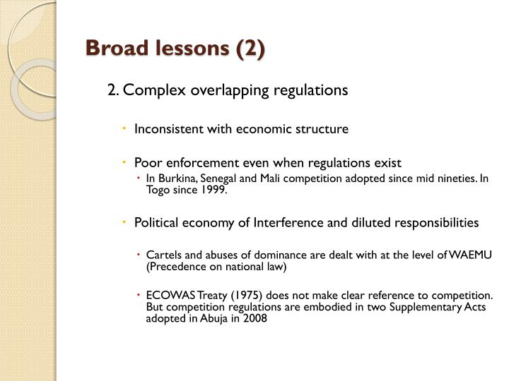 Broad lessons (2)