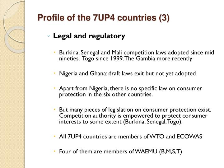 Profile of the 7UP4 countries (3)