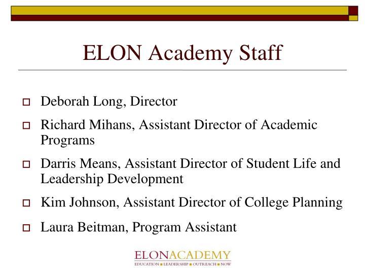 Elon academy staff