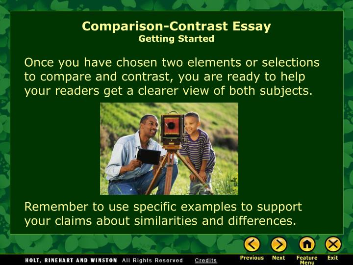 comparison and contrast essay writing powerpoint