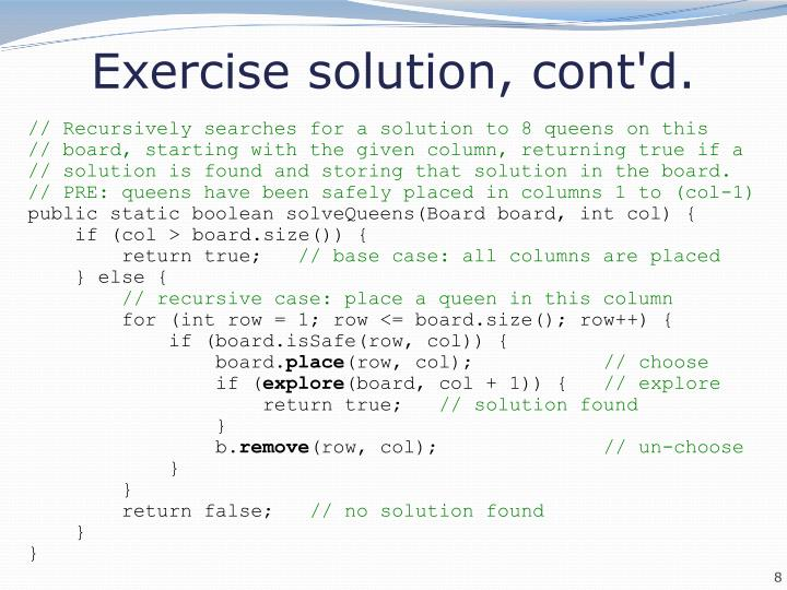 Exercise solution, cont'd.