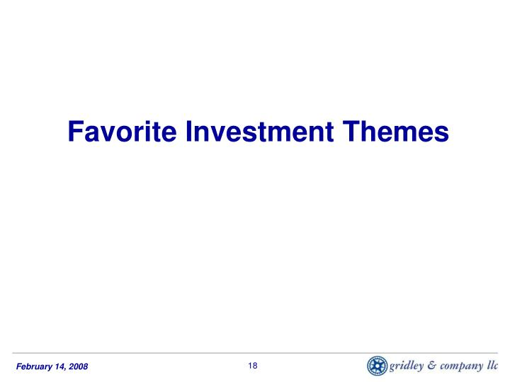 Favorite Investment Themes