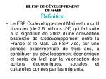 le fsp co d veloppement du mali d finition