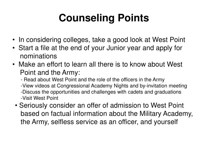 Counseling Points