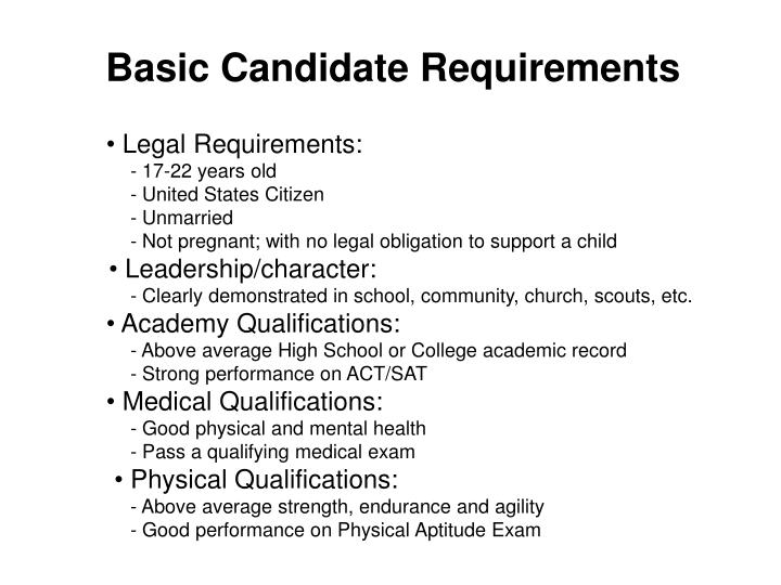 Basic Candidate Requirements