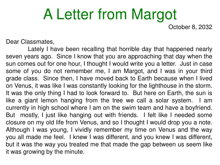 A Letter from Margot