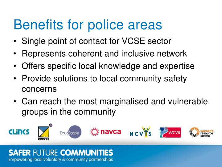 Benefits for police areas