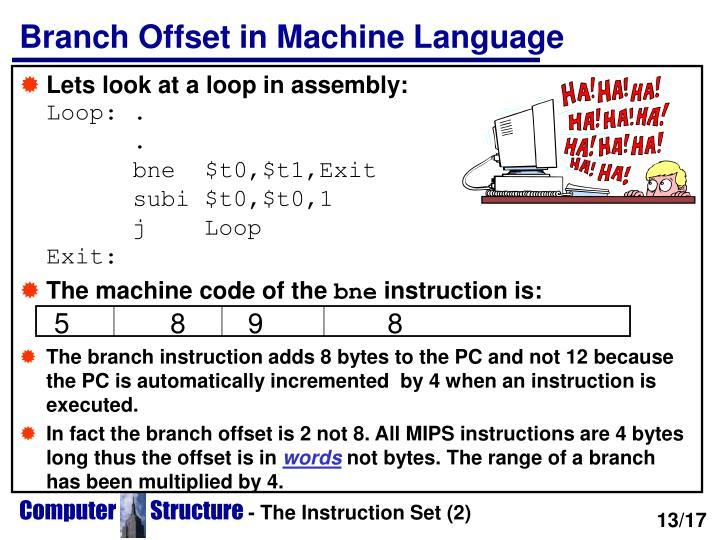 Branch Offset in Machine Language