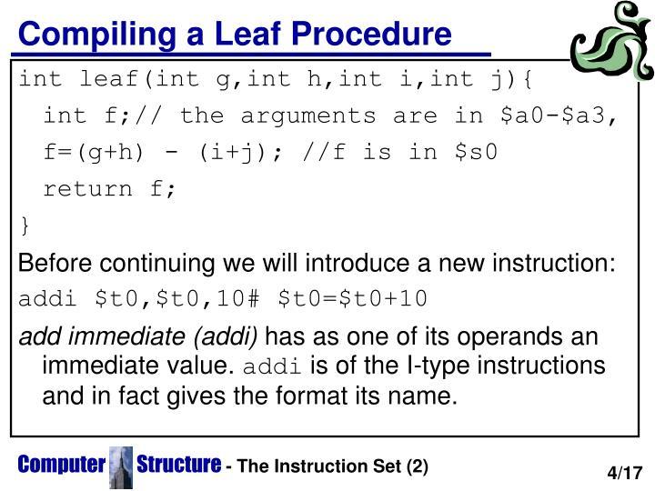 Compiling a Leaf Procedure