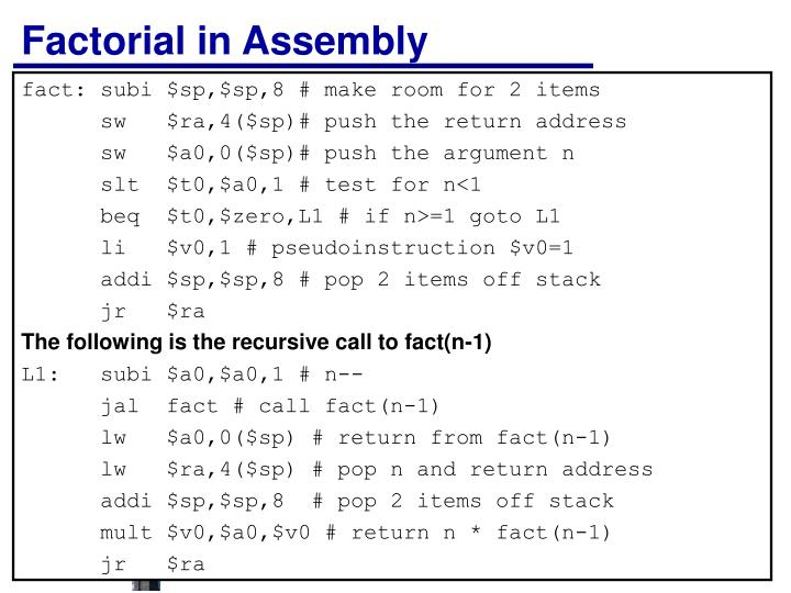 Factorial in Assembly