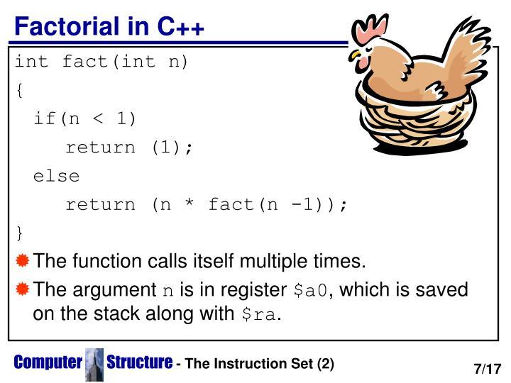 Factorial in C++