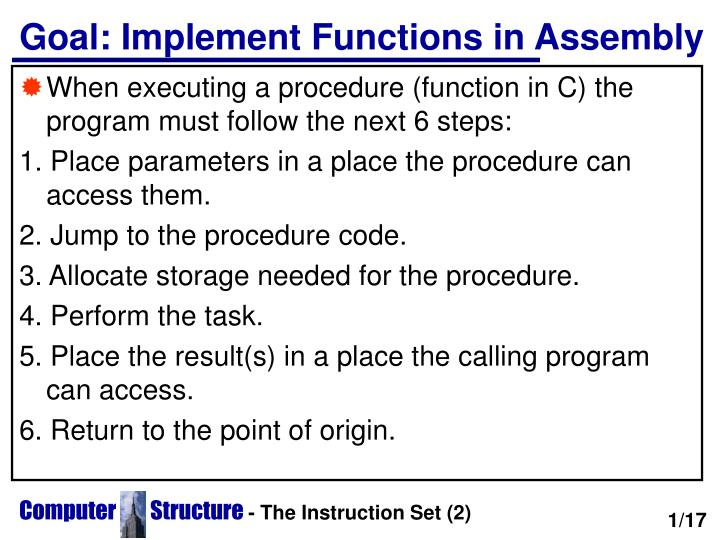 Goal implement functions in assembly