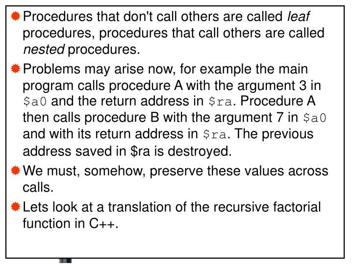 Nested Procedures