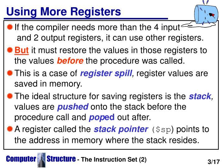 Using more registers