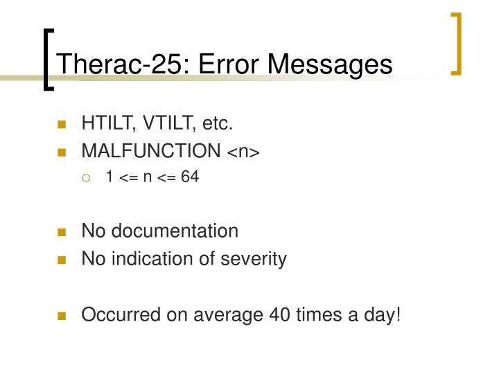 Therac-25: Error Messages