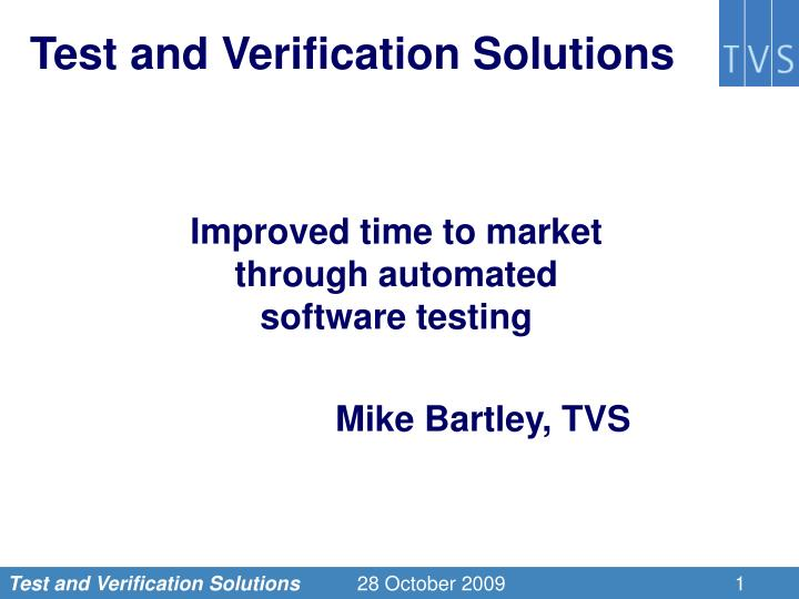 test and verification solutions n.