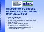 composition du groupe reconduction de la commission union sncaed sist