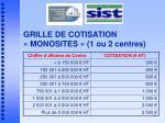 grille de cotisation monosites 1 ou 2 centres
