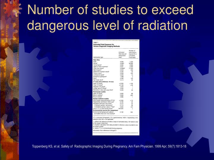 Number of studies to exceed dangerous level of radiation