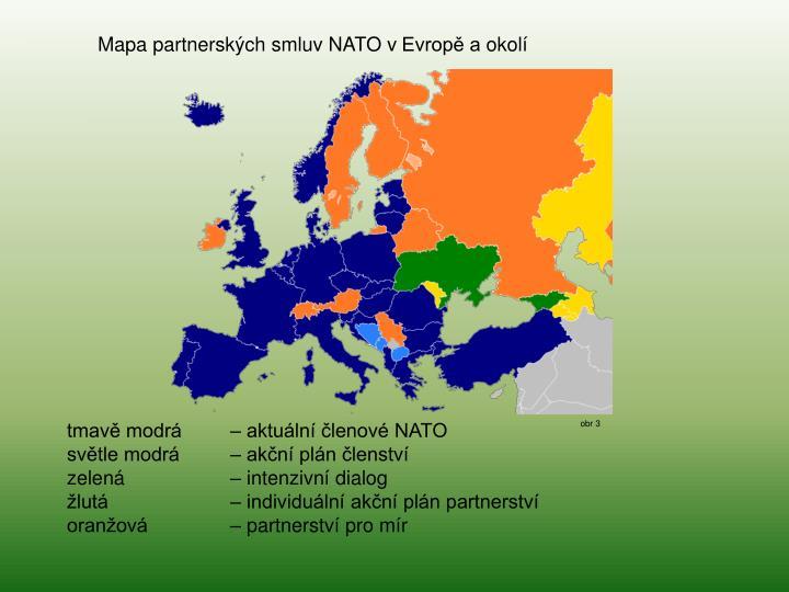 Mapa partnerských smluv NATO vEvropě aokolí