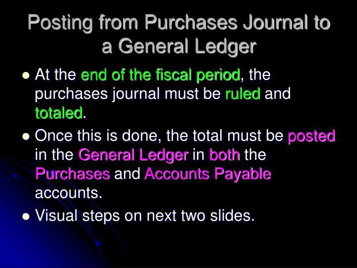Posting from Purchases Journal to a General Ledger