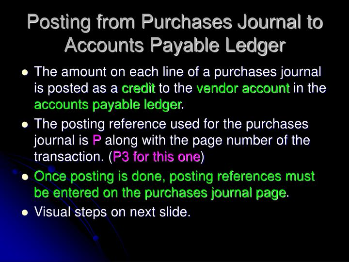 Posting from Purchases Journal to Accounts Payable Ledger