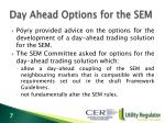 day ahead options for the sem