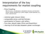 interpretation of the key requirements for market coupling