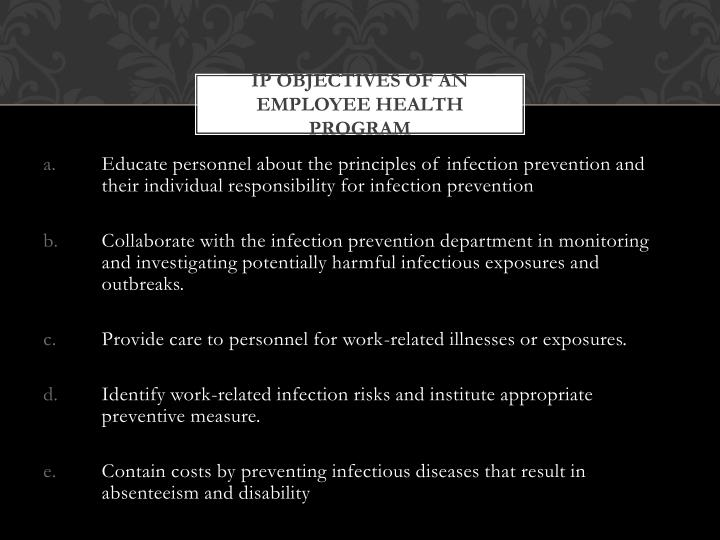 IP Objectives of an Employee Health Program