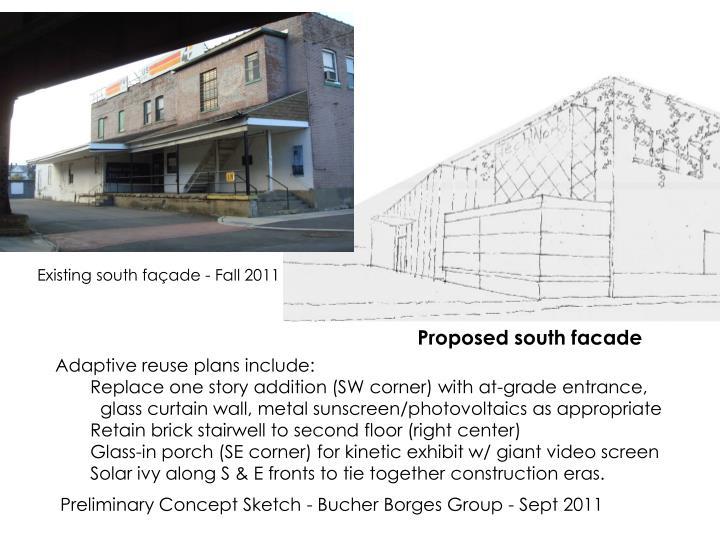 Existing south façade - Fall 2011