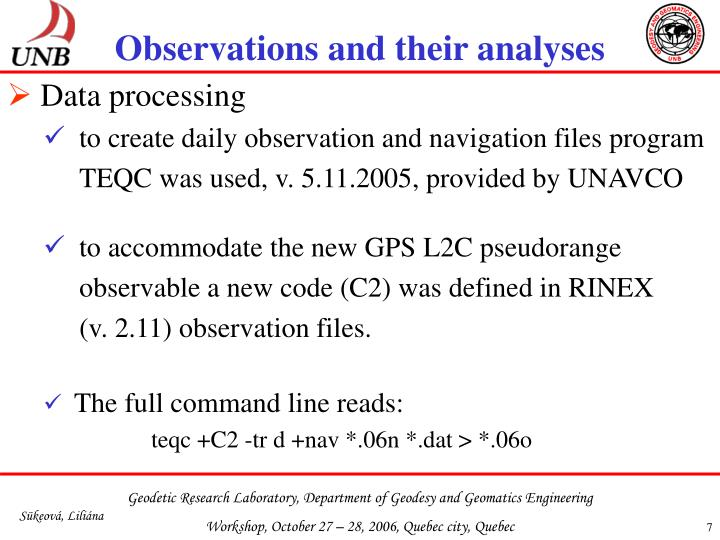 Observations and their analyses