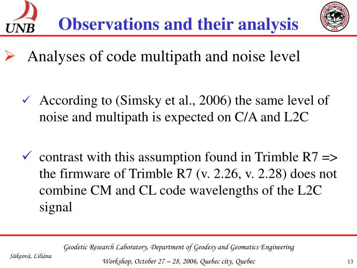 Observations and their analysis