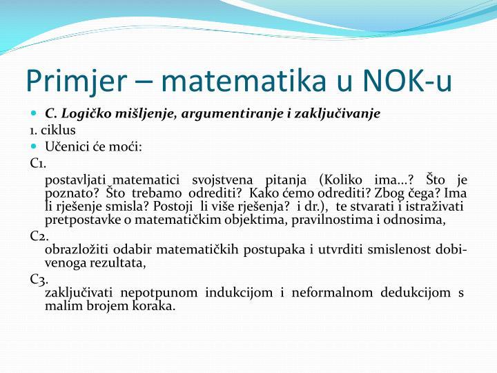 Primjer – matematika u NOK-u