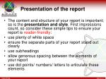 presentation of the report