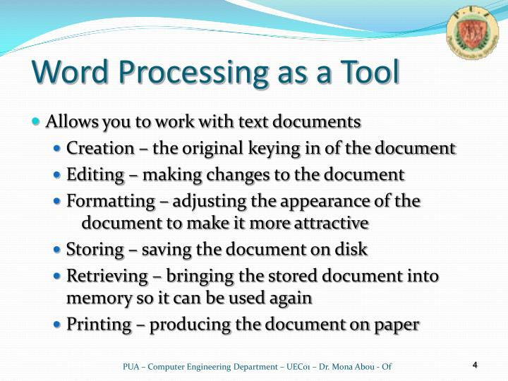Word Processing as a Tool