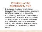 criticisms of the asset liability view