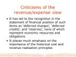 criticisms of the revenue expense view