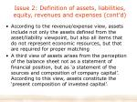 issue 2 definition of assets liabilities equity revenues and expenses cont d