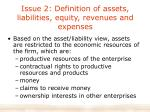 issue 2 definition of assets liabilities equity revenues and expenses