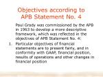 objectives according to apb statement no 4